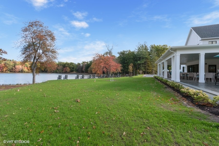 big yard and lake