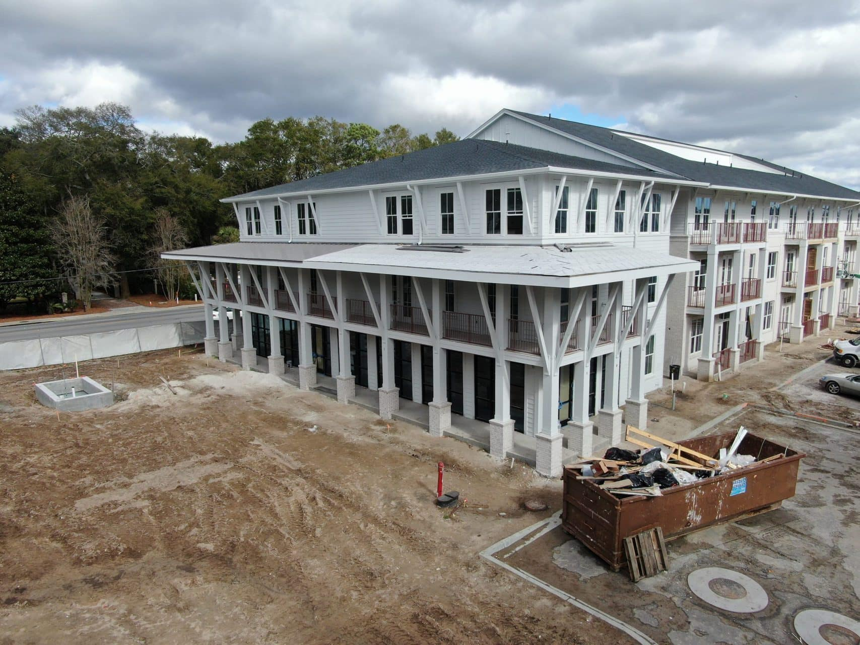 drone image of construction