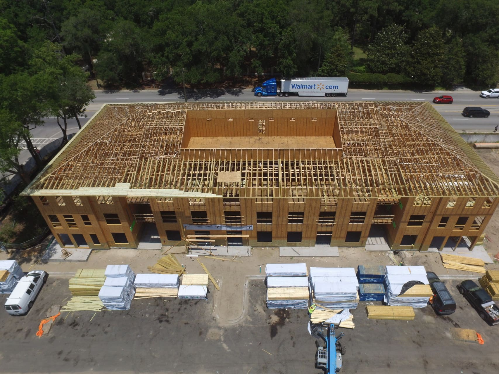 aerial view of construction site wood