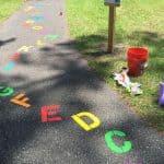 sidewalk chalk letters toy chair