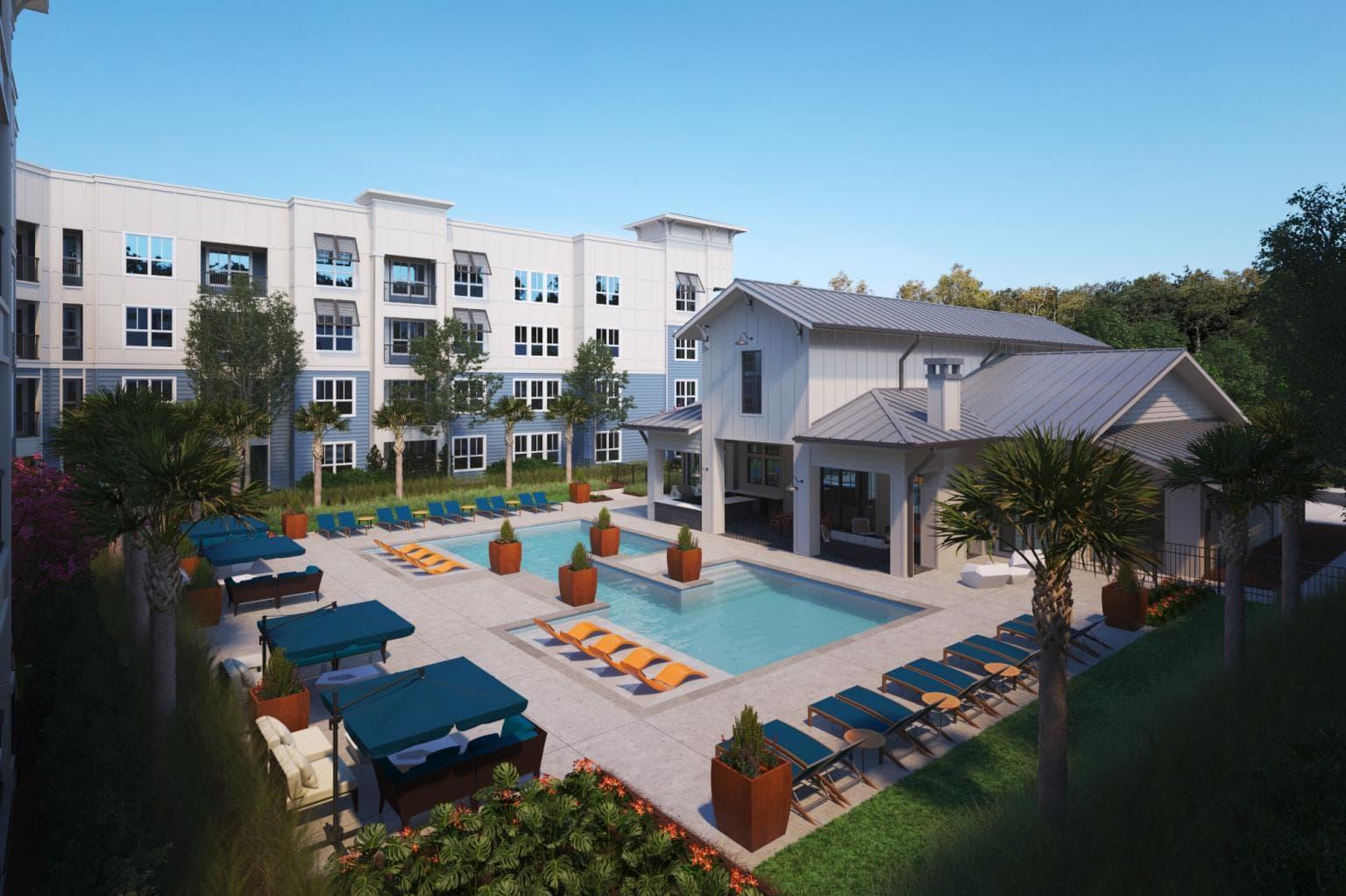 art mockup of apartment complex pool