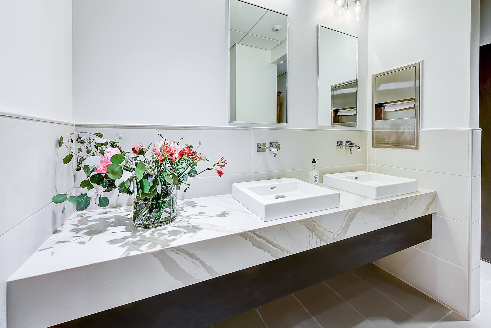 bathroom sink mirror flower