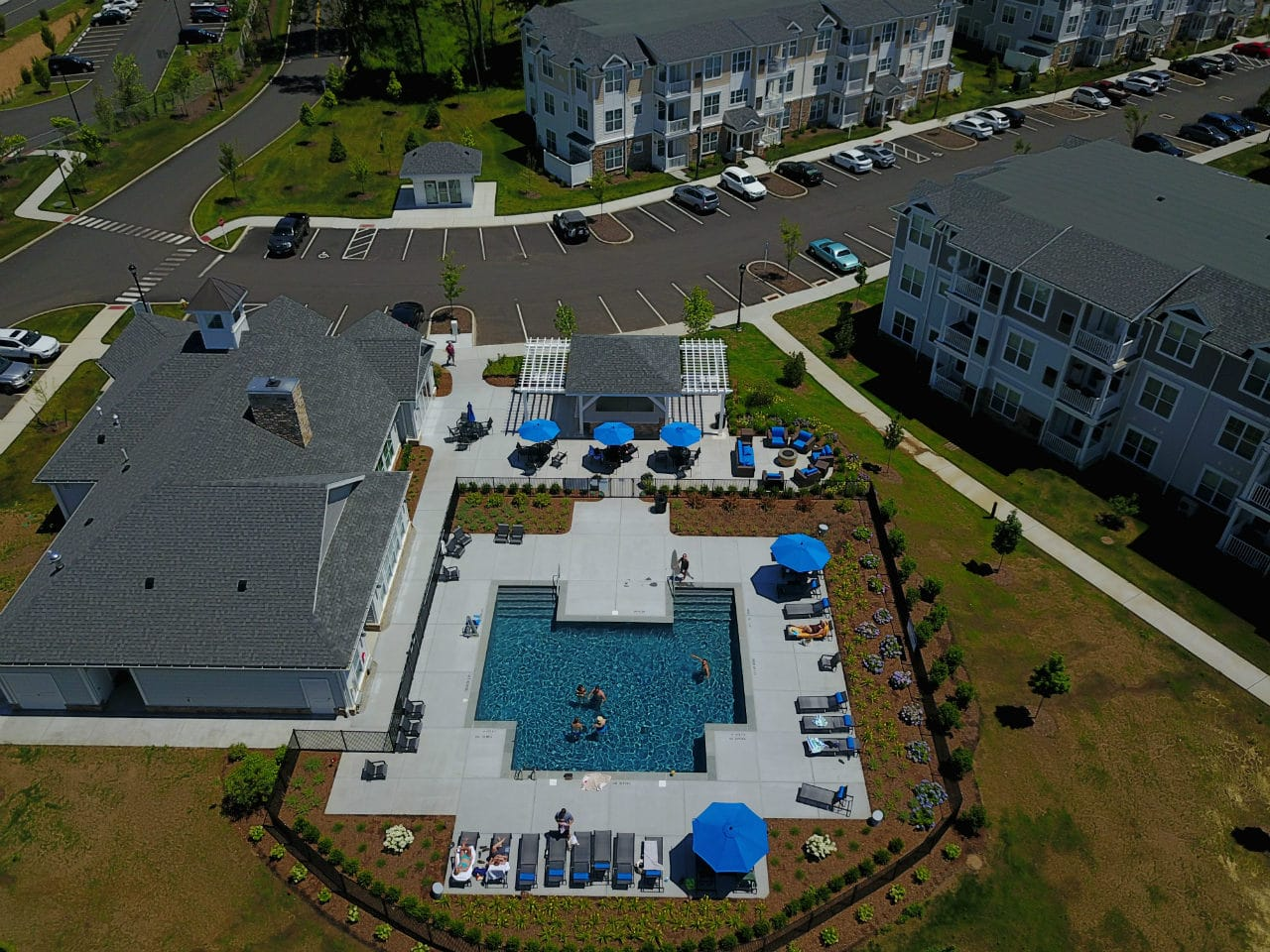 aerial view of apartments