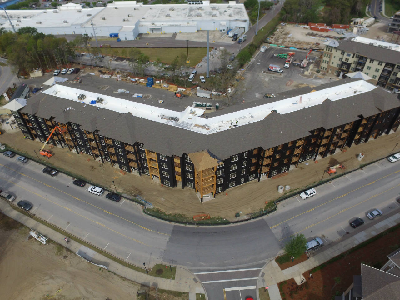 birds-eye view apartment buildings in construction