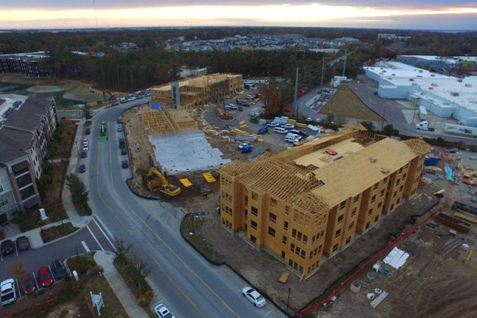 birds-eye view construction site
