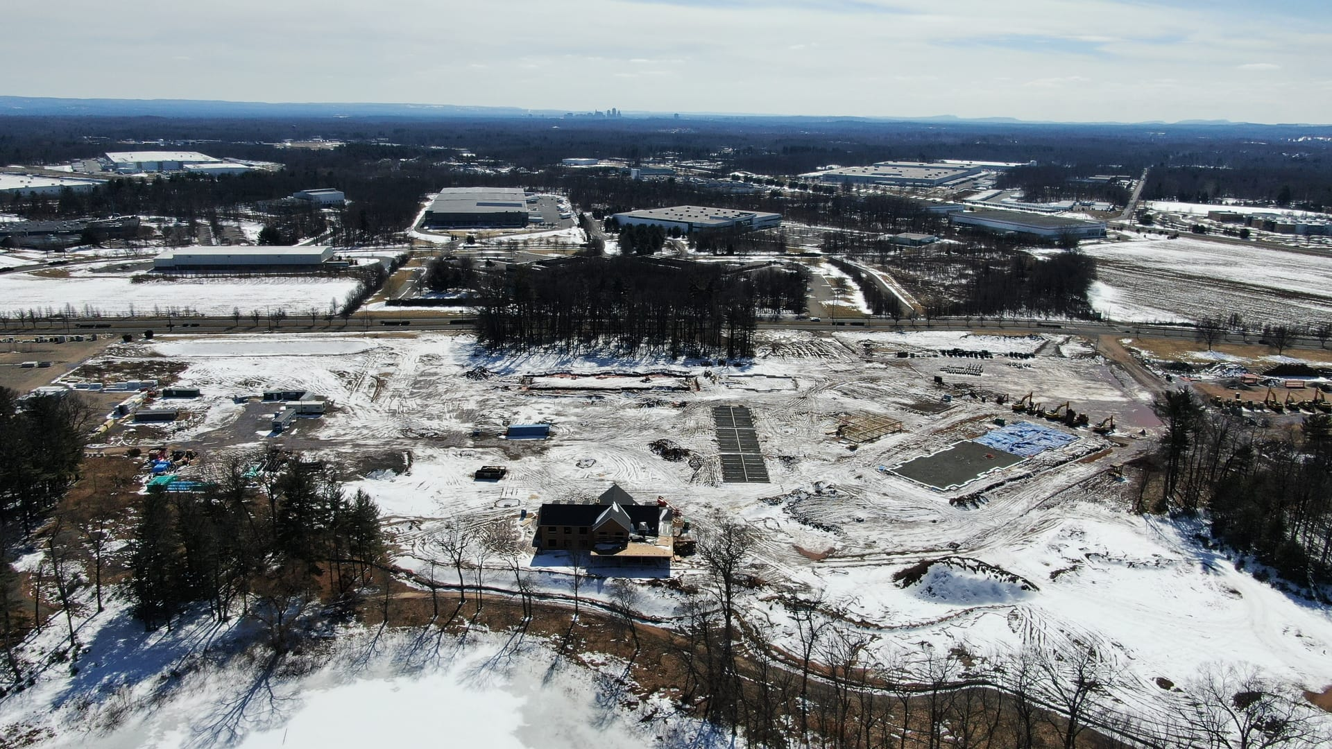 aerial view of construction site winter