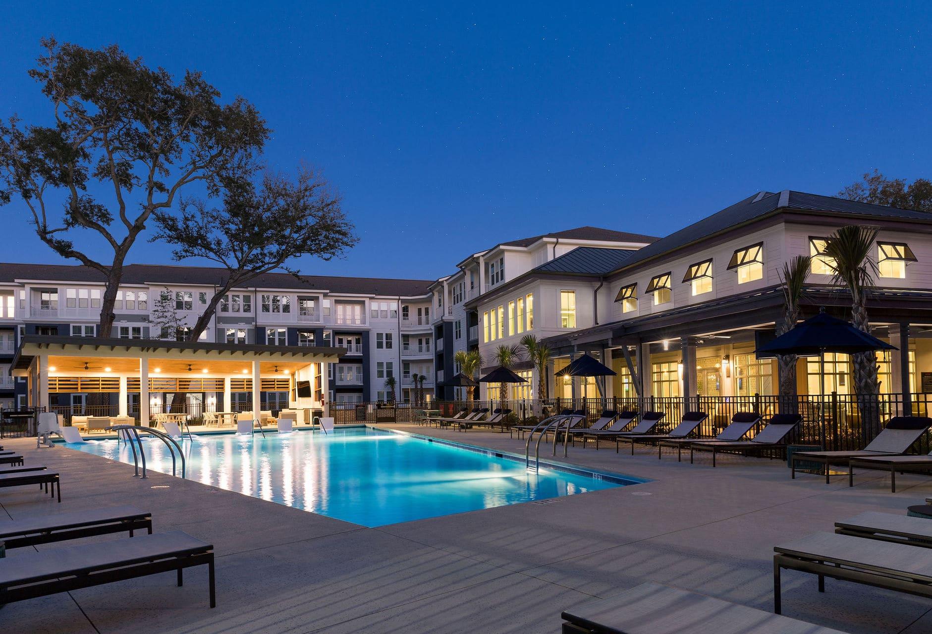 apartment complex pool night