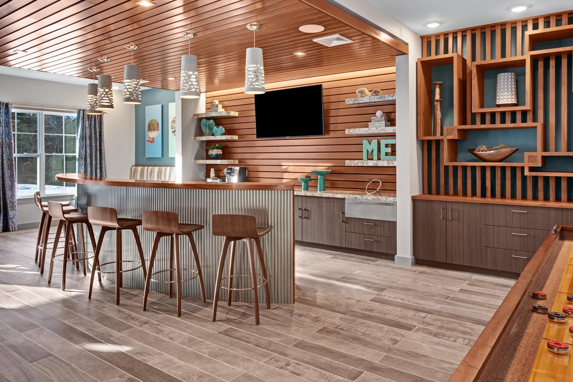 community living space wet bar